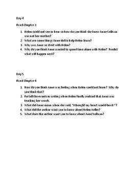 A Girl Named Helen Keller Comprehension questions