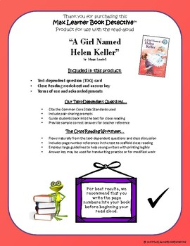 A Girl Named Helen Keller: Text-Dependent Questions and Close Reading Worksheet