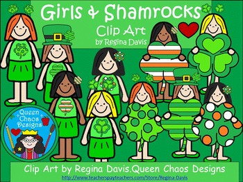 A+ Clip Art: Girls and Shamrocks For March and St.Patrick's Day