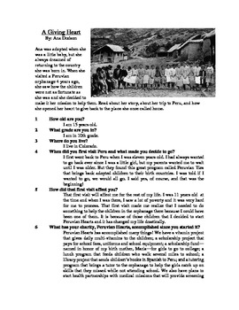 A Giving Heart - Informational Text Test Prep