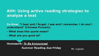 A Glass of Milk Paid In Full Presentation- Active reading strategies