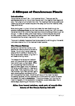 A Glimpse at Carnivorous Plants: A Thematic Notebooking Unit