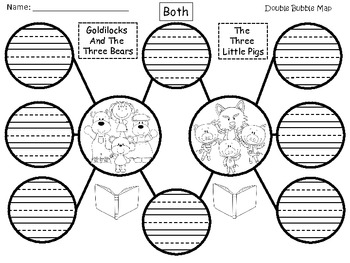 A+ Goldilocks And The Three Bears & The Three Little Pigs Double Bubble Maps