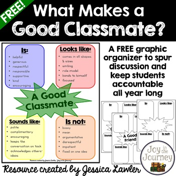FREE Back-to-School What Makes A Good Classmate? Graphic Organizer