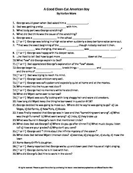 A Good Clean-Cut American Boy by Harlan Ware Complete Guided Reading Worksheet