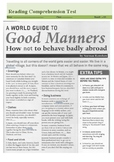 A Good Guid To Good Manners- How Not behave Badly Abroad- Reading Test