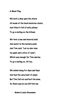 A Good Play by Robert Louis Stephenson Poem and Questions
