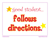 A Good Student Follows Directions classroom poster