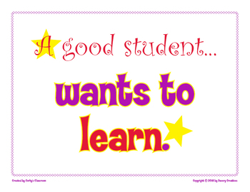 A Good Student Wants To Learn classroom poster
