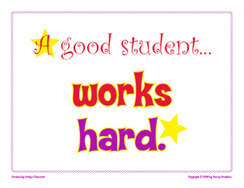 A Good Student Works Hard classroom poster