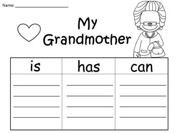 A+  Grandma, Grandmother, or Insert A Special Name... Three Graphic Organizers