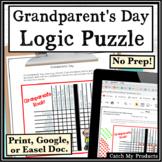 Grandparents' Day Activity Logic Puzzle Brainteaser