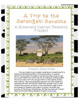 A Grassland Habitat Research Activity- A Trip to Serengeti