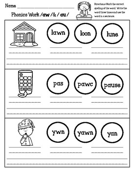A Great Inventor, /aw/ sound word sort