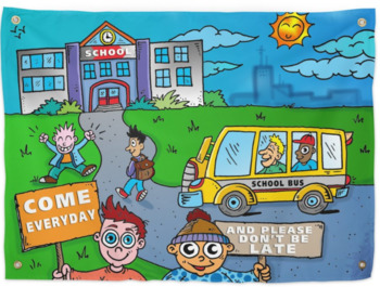 A Great Mural for School: Kids Come to School-Shipped Product