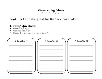 A Great Trip - Personal Narrative Writing Packet