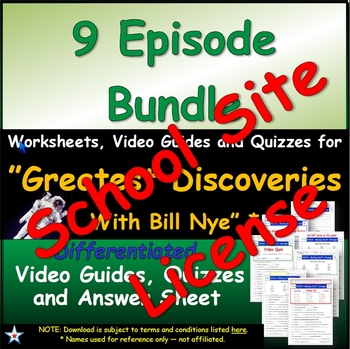 "1 SSL- SCHOOL SITE LICENSE - Greatest Discoveries  Bill Nye - All 9 Episodes""."