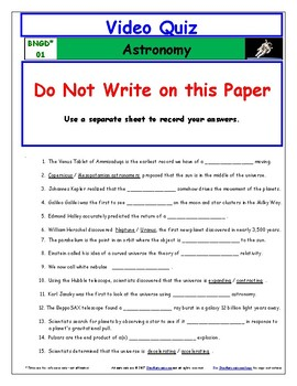 Differentiated Guide Quiz & Ans - Greatest Discoveries Bill Nye* Astronomy