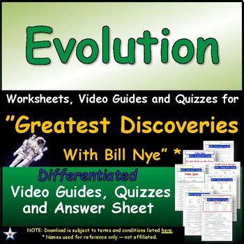 "A Greatest Discoveries  Bill Nye  ""Evolution"" - Worksheet,"