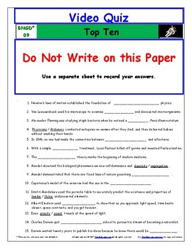 "A Greatest Discoveries  Bill Nye  ""Top Ten"" - Worksheet, Ans, &Two Quiz."