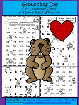 A+ Groundhog Day CVC, Nonsense Words And Letter Reading Practice
