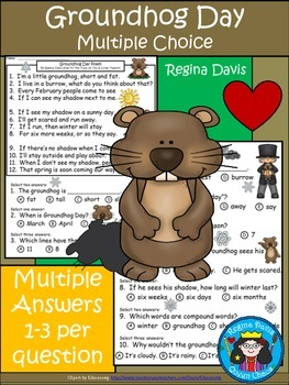 A+  Groundhog Day Poem & Multiple Choice With 1, 2, Or 3 Answers Per Question