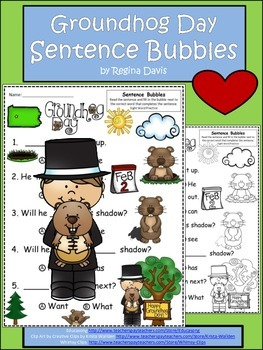 A+ Groundhog Day: Fill In the Blank.Multiple Choice Sight Word Sentences