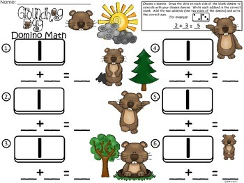A+ Groundhog  Domino Math