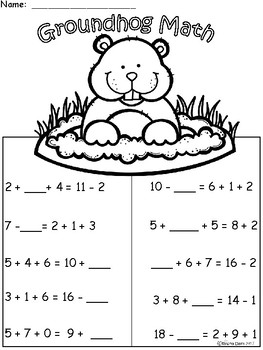 A+ Groundhog: Math... Addition and Subtraction Differentiated  Practice