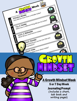 A Growth Mindset Week - 5 or 7 Day Week Journal Prompts