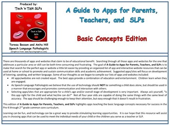 A Guide to Apps for Parents, Teachers, and SLPs - Basic Concepts Edition