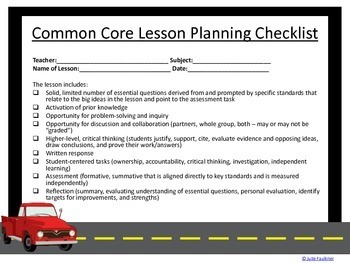 How to Write Essential Questions +CC Planning Checklist & Lesson Plan Template