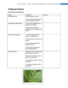 A HUMAN PATTERN - JUDITH WRIGHT WORKSHEETS