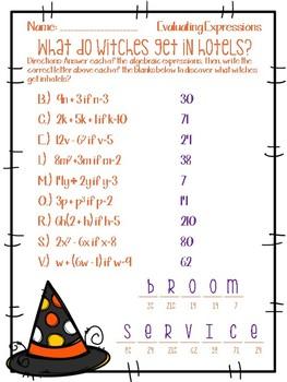 A Halloween Algebraic Expression Worksheet