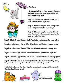 A Halloween Color Story: Color Sight Words Kgtn Common Core, pre-K, TK, & sp ed.