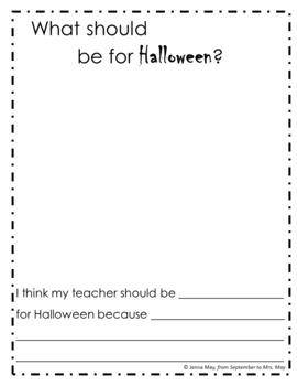 A Halloween Costume for My Teacher Writing Freebie
