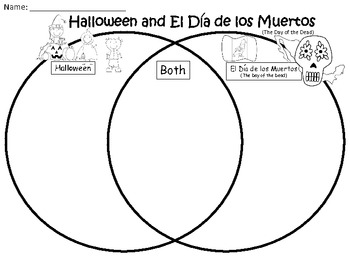 A halloween el dia de los muertos venn diagram compare and contrast ccuart
