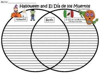 A+ Halloween & El Dia de los Muertos Venn Diagram Compare  And Contrast