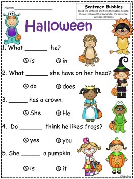 A+ Halloween: Fill In the Blank.Multiple Choice Sight Word Sentences