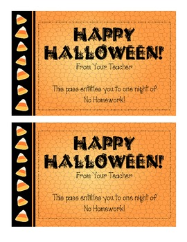 A Halloween Homework Pass