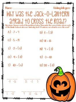 A Halloween Joke - Adding Integers Worksheet