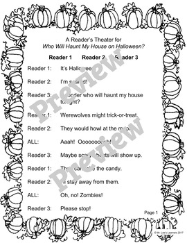 Who Will Haunt My House on Halloween? - A Halloween Reader's Theater