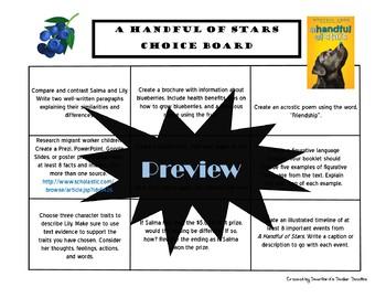 A Handful of Stars Choice Board Novel Study Activities Menu Book Project