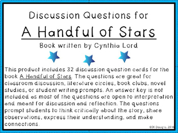 A Handful of Stars Discussion Question Cards