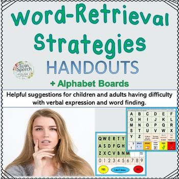 Word Retrieval Strategies Handouts + Alphabet Board