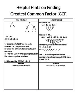 A Handout for Finding GCF