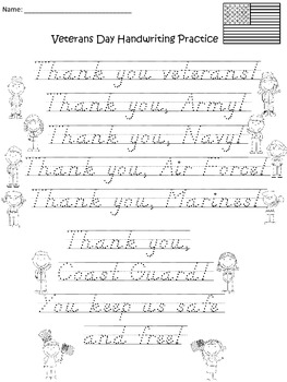 A+  Free...Veterans Day Handwriting Practice