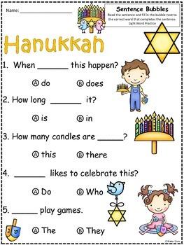 A+ Hanukkah.Chanuka: Fill In the Blank.Multiple Choice Sight Word Sentences