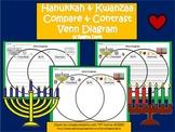 A+ Hanukkah & Kwanzaa Venn Diagram...Compare and Contrast