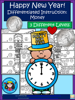 A+ Happy New Year! Money Count...Differentiated  Practice